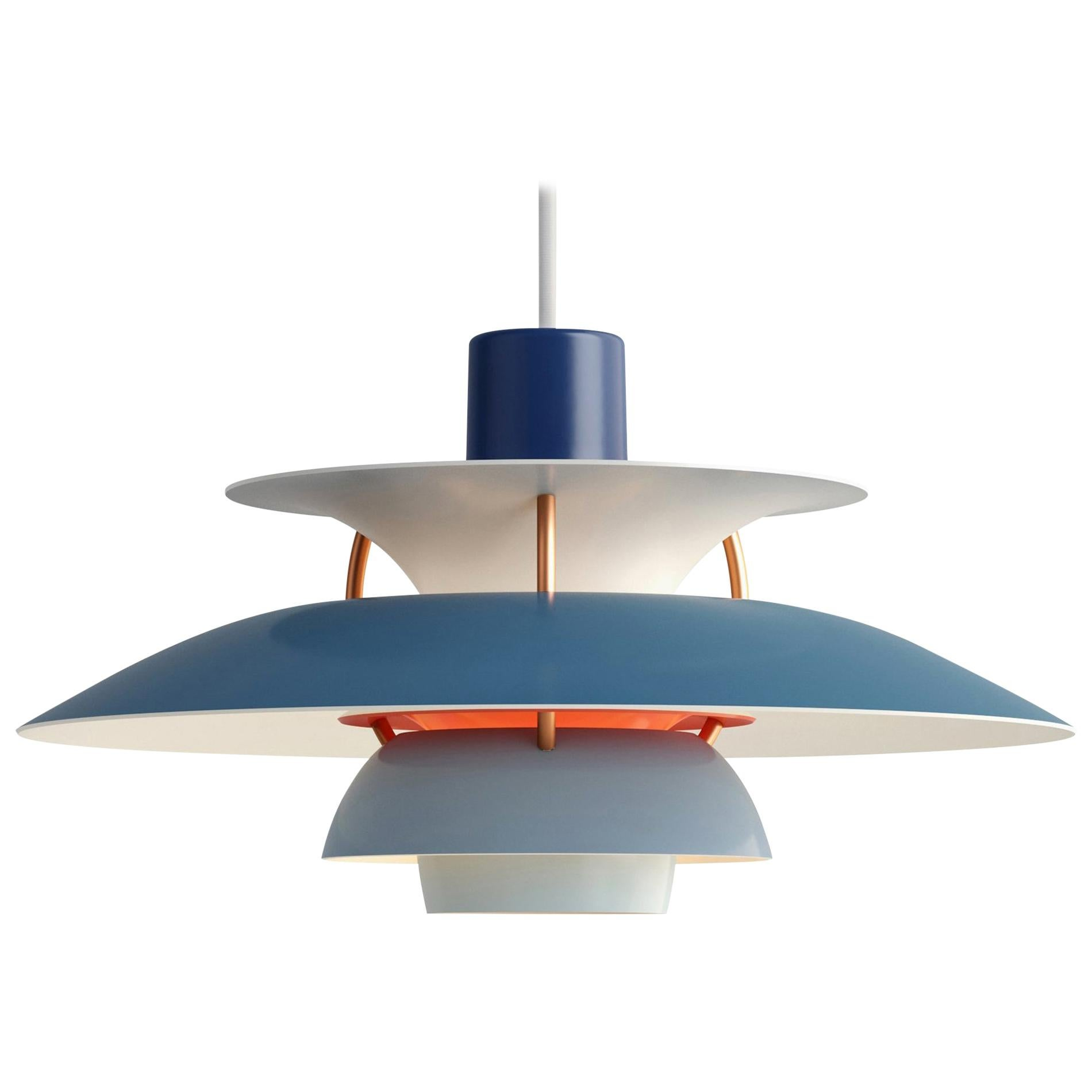Poul Henningsen Blue PH5 Mini Pendants for Louis Poulsen