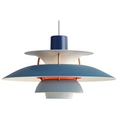 Poul Henningsen Blue PH5 Mini Pendants for Louis Poulsen