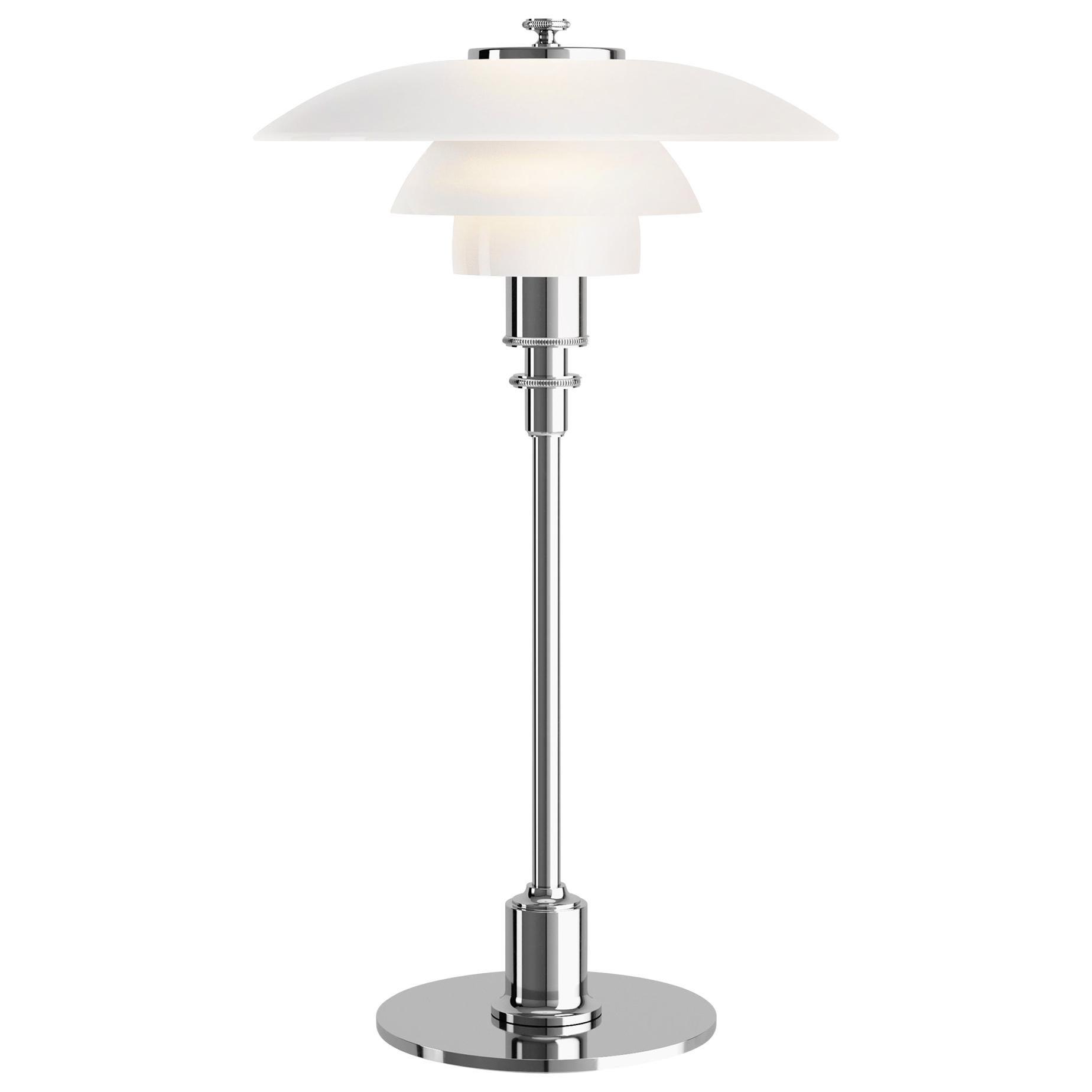 Poul Henningsen Chrome and Glass PH 2/1 Table Lamp for Louis Poulsen