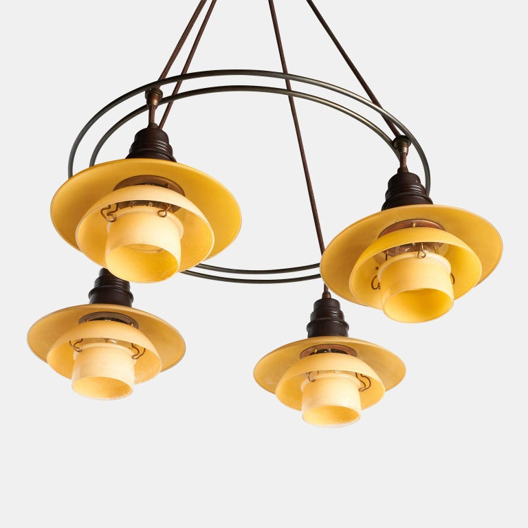 Scandinavian Modern Poul Henningsen Double Ring Chandelier For Sale
