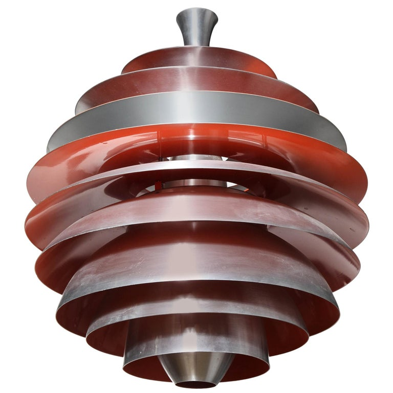 "Poul Henningsen for Louis Poulsen Aluminum & Red Orange ""Louvre"" Pendant, 1960s  For Sale"