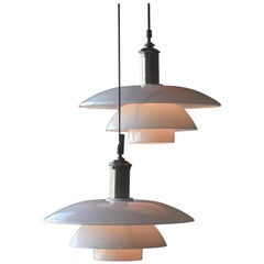 Poul Henningsen, Pair of 4/4 Pendant Lamps, Nickel-Plated Metal, Glass, 1940s