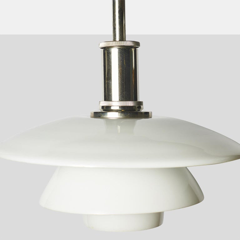 Pendant lamp for Louis Poulsen - 4.5/4 with upper aluminum shade and 2 Lower glass rings.