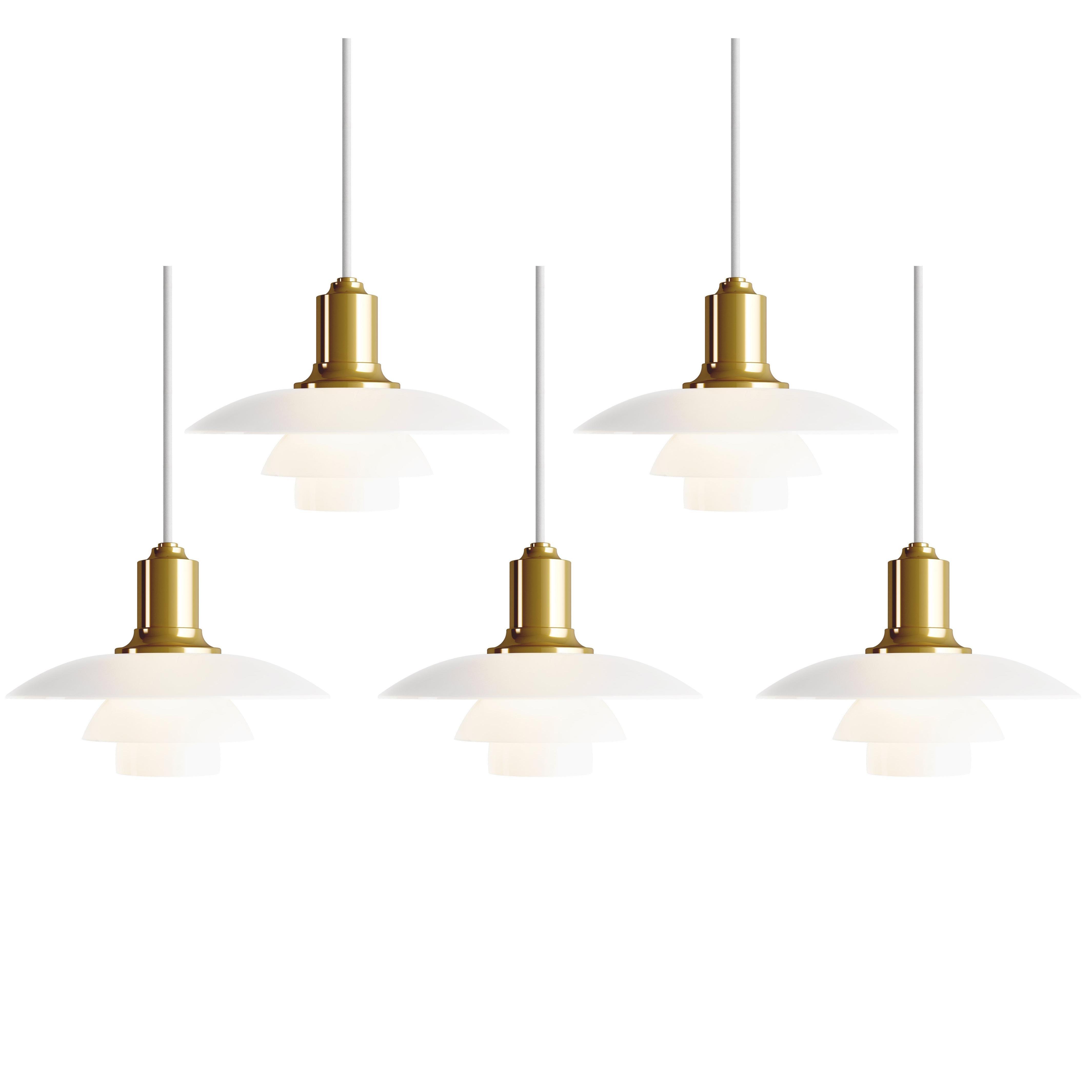 Poul Henningsen PH 2/1 Brass & Glass Pendant for Louis Poulsen