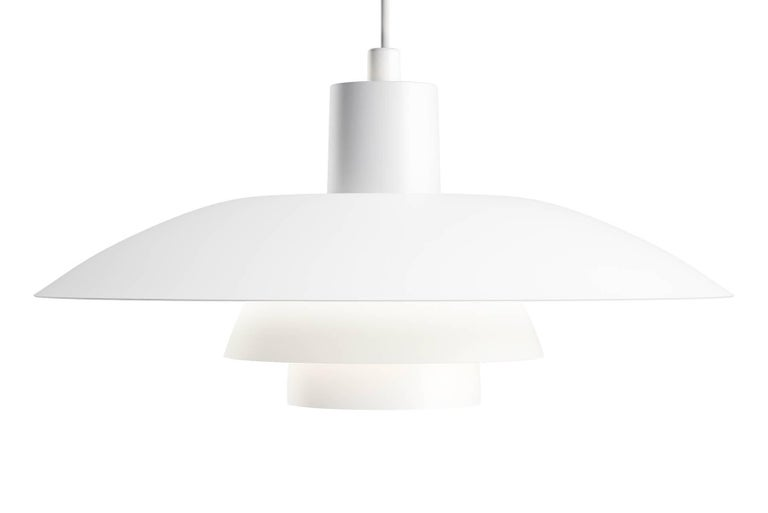 The fixture is designed based on the principle of a reflective three-shade system, which directs the majority of the light downwards. The shades are made of metal and painted white to ensure uniform, comfortable light distribution. Poul Henningsen