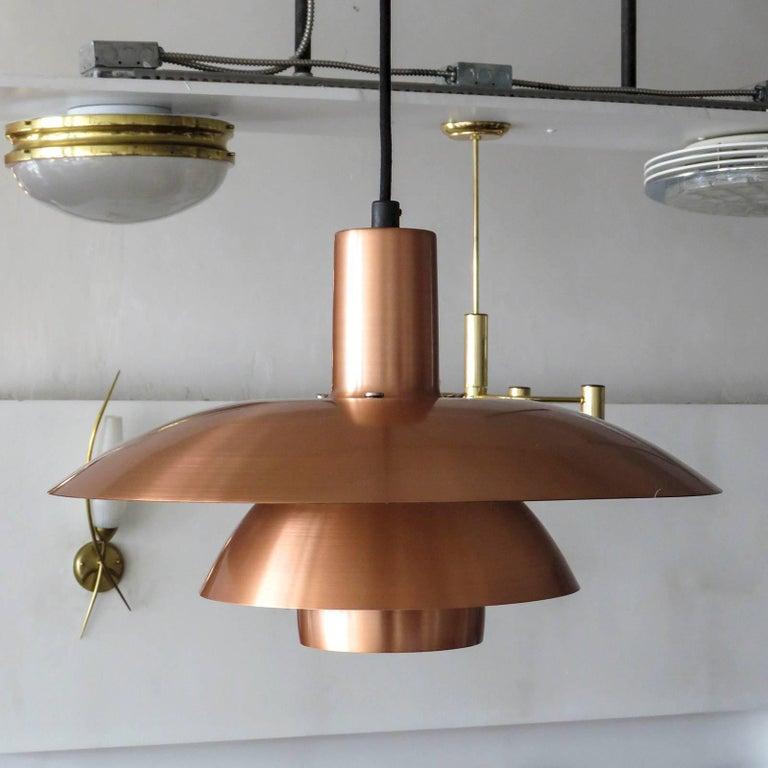 Wonderful PH 4½/4 copper pendant by Poul Henningsen for Louis Poulsen, the current drop of the fixture (42