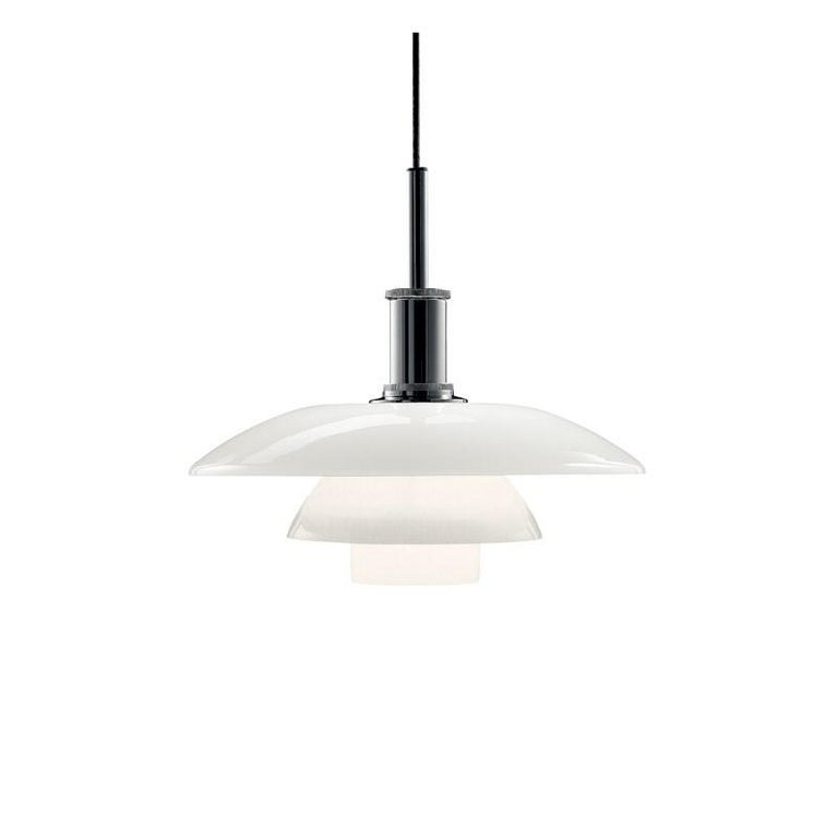 Poul Henningsen PH 4½ - 4 glass pendants for Louis Poulsen. The PH 4½ - 4 glass pendant light features handblown white opal glass shades, which have been sandblasted on the undersides and a high luster chrome-plated suspension.  The PH 4½ - 4