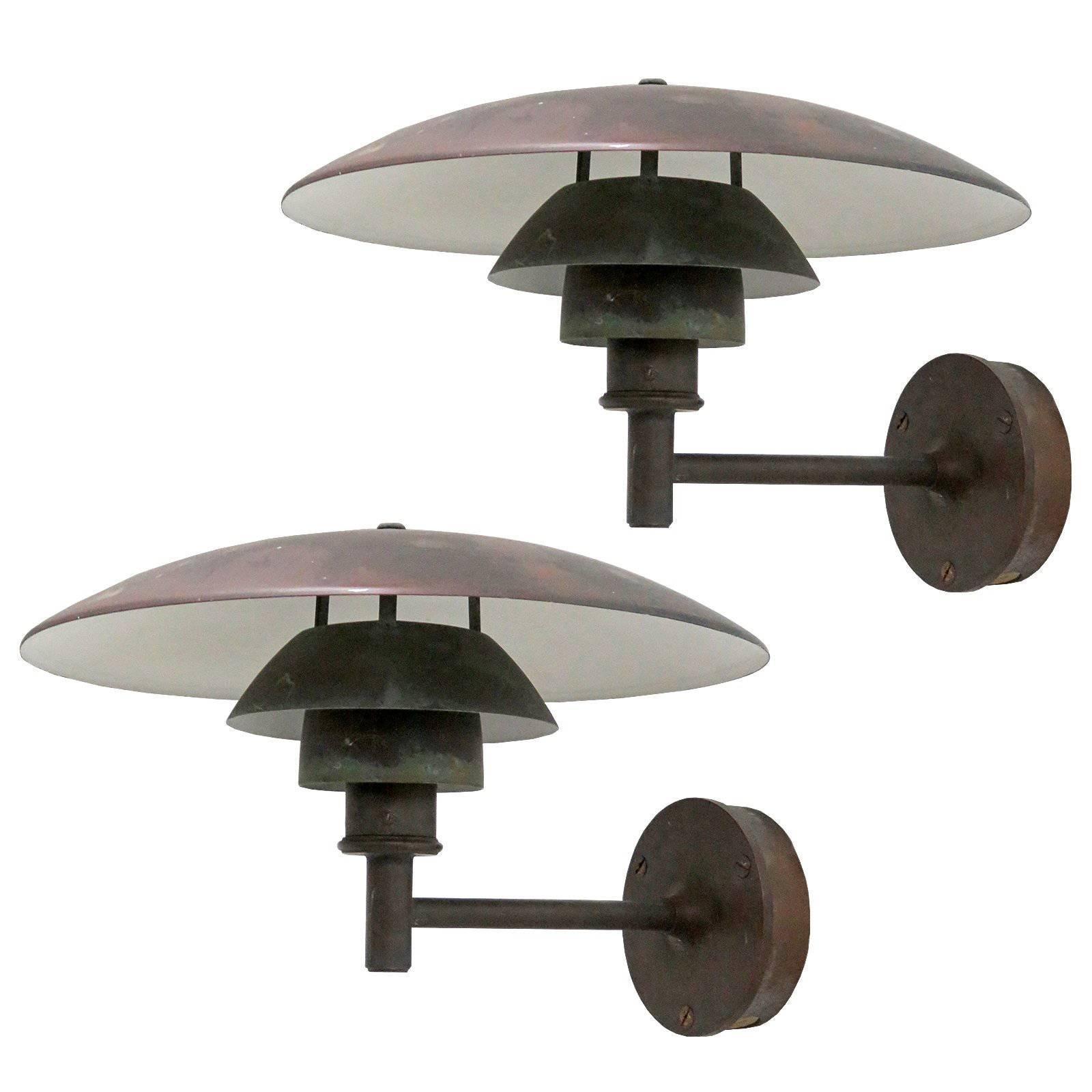 SET OF 4 Copper Wall Light by Poul Henningsen PH453 model For Sale