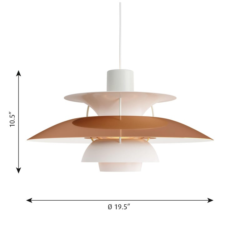 Poul Henningsen PH 5 copper pendant for Louis Poulsen. Poul Henningsen introduced his iconic PH 5 pendant light in 1958. To celebrate, Louis Poulsen is putting out this special 60th Anniversary edition in copper. Six decades later, the PH 5 remains