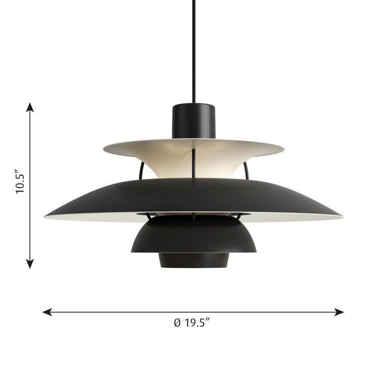 Poul Henningsen PH 5 pendant for Louis Poulsen in all black. Poul Henningsen introduced his iconic PH 5 pendant light in 1958. Six decades later, the PH 5 remains the bestselling design in the Louis Poulsen's portfolio. The PH 5's painted metal