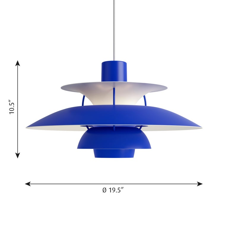 Poul Henningsen PH 5 pendant for Louis Poulsen in all blue. Poul Henningsen introduced his iconic PH 5 pendant light in 1958. Six decades later, the PH 5 remains the bestselling design in the Louis Poulsen's portfolio. The PH 5's painted metal