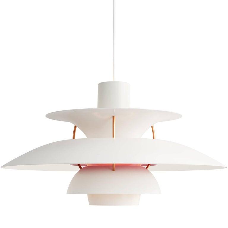 Poul Henningsen PH 5 Pendant for Louis Poulsen in Modern White For Sale