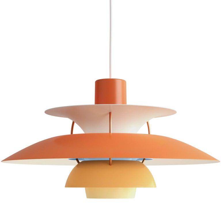 Poul Henningsen PH 5 Pendant for Louis Poulsen in Orange For Sale