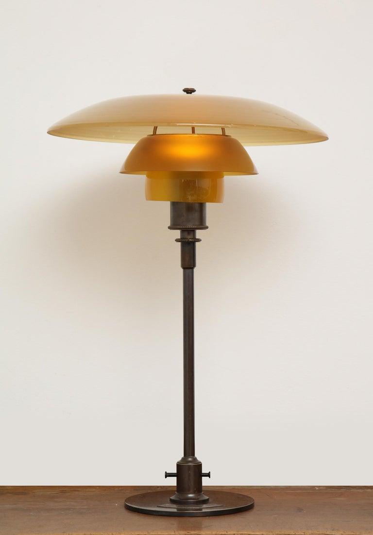 Bronze Poul Henningsen 'PH', Early Table Light, 4/3 Amber Shades, Pat. Appl, 1929