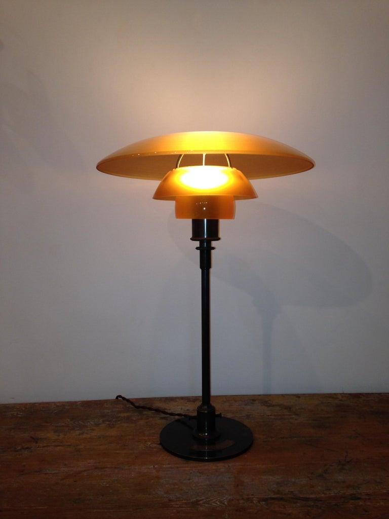 Danish Poul Henningsen 'PH', Early Table Light, 4/3 Amber Shades, Pat. Appl, 1929
