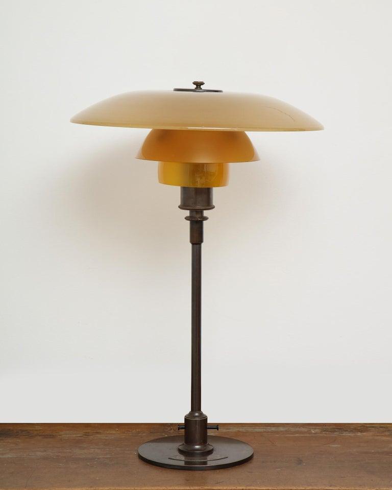 Mid-Century Modern Poul Henningsen 'PH', Early Table Light, 4/3 Amber Shades, Pat. Appl, 1929