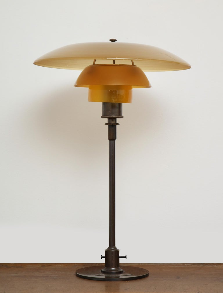 Patinated Poul Henningsen 'PH', Early Table Light, 4/3 Amber Shades, Pat. Appl, 1929
