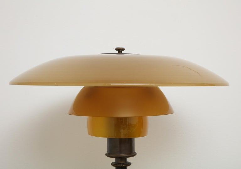 Poul Henningsen 'PH', Early Table Light, 4/3 Amber Shades, Pat. Appl, 1929 In Excellent Condition In New York, NY
