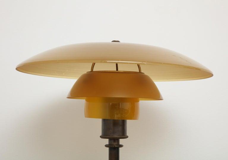 20th Century Poul Henningsen 'PH', Early Table Light, 4/3 Amber Shades, Pat. Appl, 1929