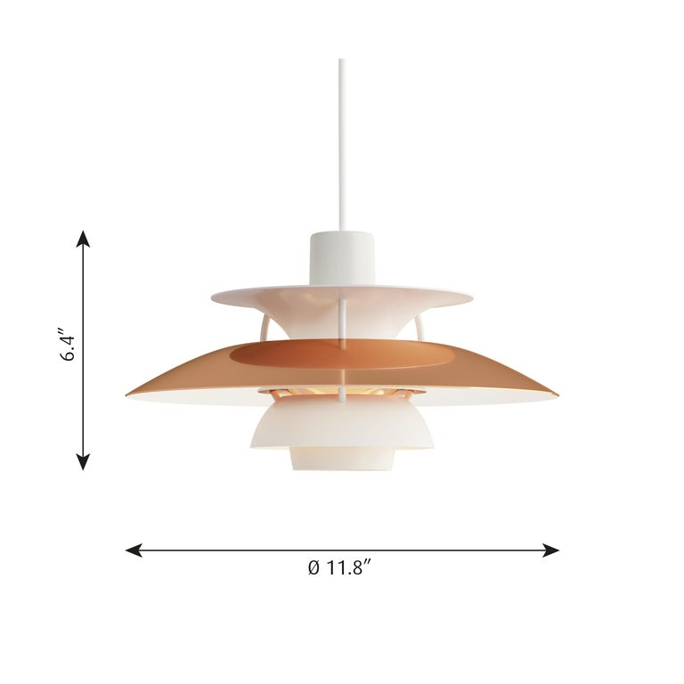 Poul Henningsen PH5 mini copper pendant for Louis Poulsen. Poul Henningsen introduced his iconic PH 5 pendant light in 1958. To celebrate, Louis Poulsen is putting out this special 60th Anniversary edition PH 5 mini and Classic in copper. No one