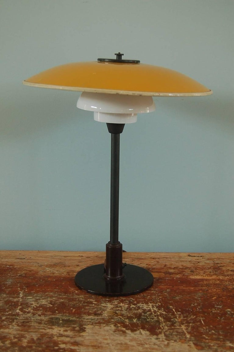 Danish Poul Henningsen, Table Light 3/2 Yellow Metal Top Shade and Opal Glass Shades For Sale