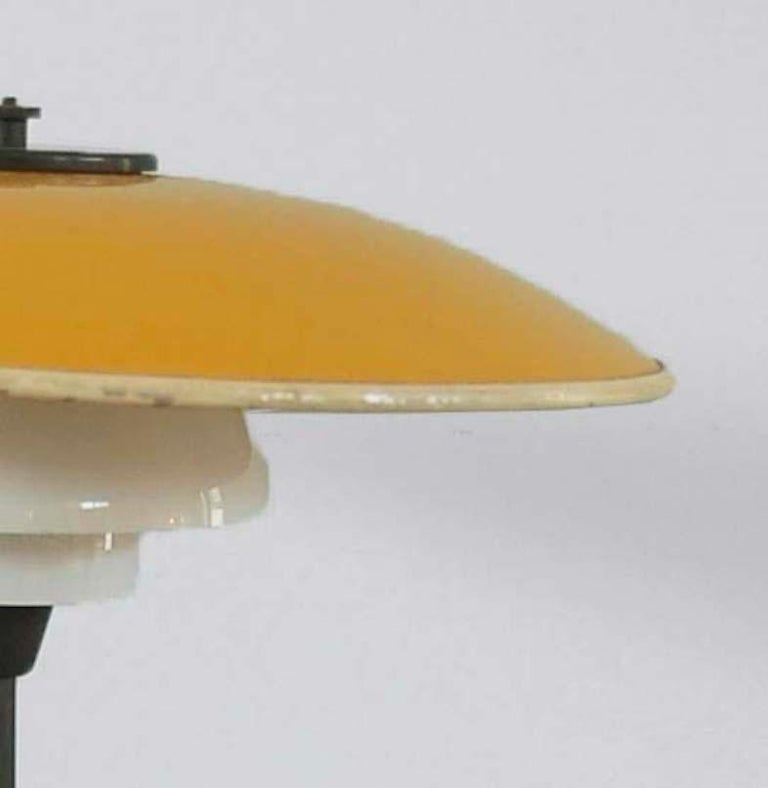 Scandinavian Modern Poul Henningsen, Table Light 3/2 Yellow Metal Top Shade and Opal Glass Shades For Sale
