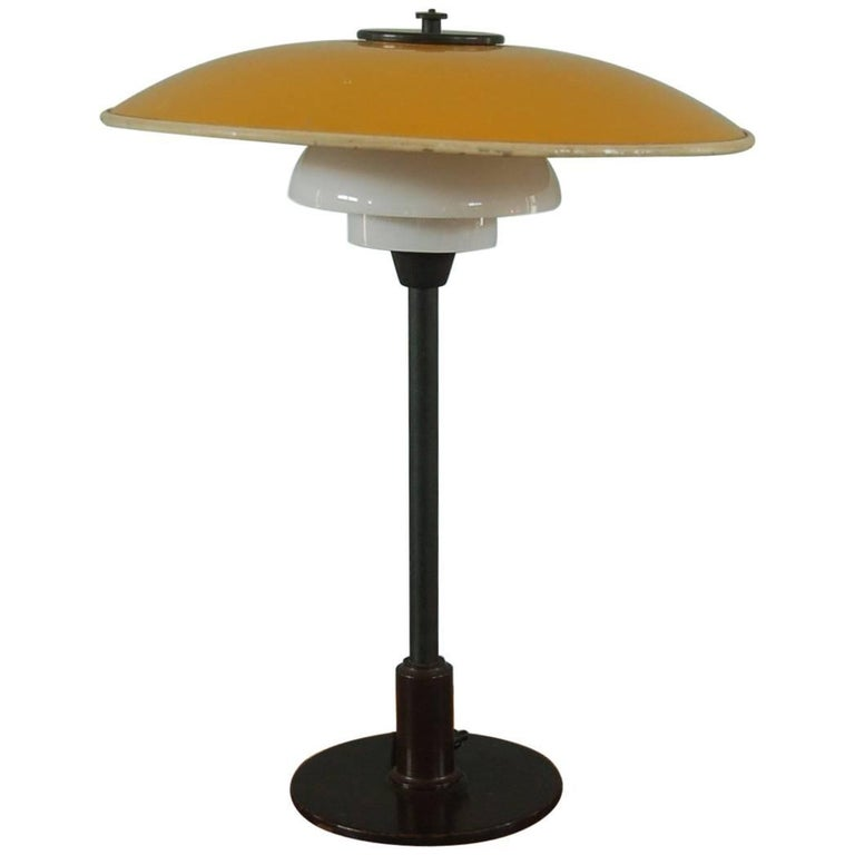 Poul Henningsen, Table Light 3/2 Yellow Metal Top Shade and Opal Glass Shades For Sale