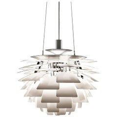 Poul Henningsen White PH Artichoke Chandelier for Louis Poulsen, Largest Model