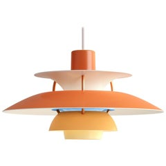 Poul Henningson Orange PH5 Mini Pendants for Louis Poulsen