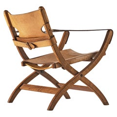 Poul Hundevad Armchair Model 'Campaign' X-Chair in Oak and Leather