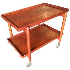 Poul Hundevad Attributed Danish Modern Expanding Rolling Bar Cart