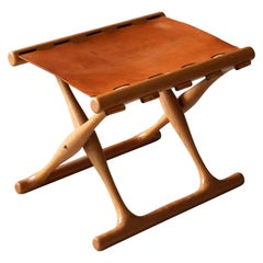 "Poul Hundevad, ""Guldhøj"" Folding Stool, Oak, Natural Leather, 1960s, Denmark"