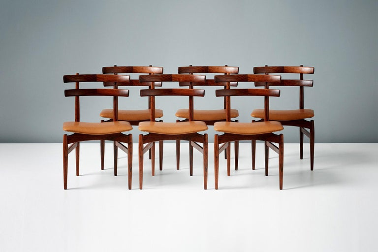 Leather Poul Hundevad Model 30 Rosewood Dining Chairs For Sale