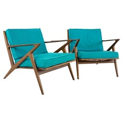 Poul Jensen for Selig Mid Century Z Lounge Chairs, a Pair