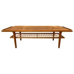 Poul Jensen for Selig Teak & Rattan Two-Tier Danish Modern Coffee Table, 1960s