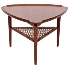 Poul Jensen for Selig Walnut and Woven Rattan Tripod Table, 1960s