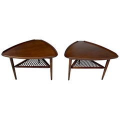 Poul Jensen for Selig Walnut and Woven Cane Guitar Pick Tables, Pair