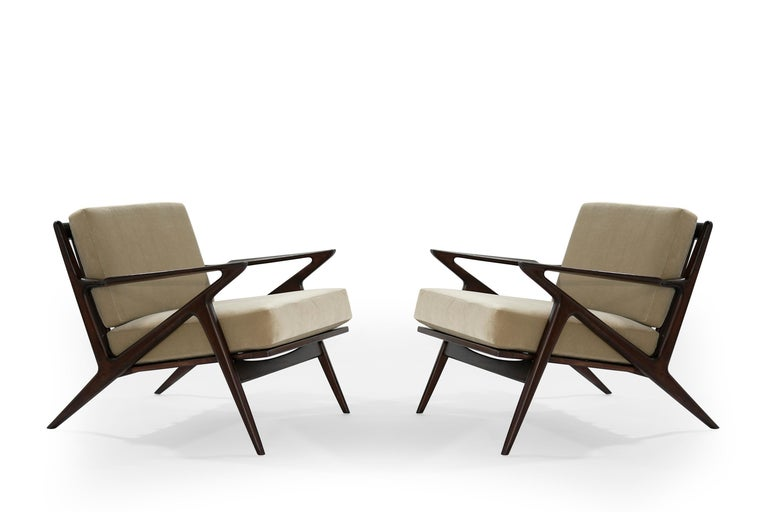 Iconic 'Z' lounge chairs designed by Poul Jensen for Selig, Denmark, circa 1950s.