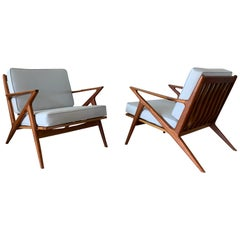 "Poul Jensen Pair of ""Z"" Lounge Chairs for Selig of Denmark"