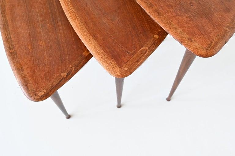 Poul Jensen Style Nesting Tables Teak Wood Denmark 1960 For Sale 5