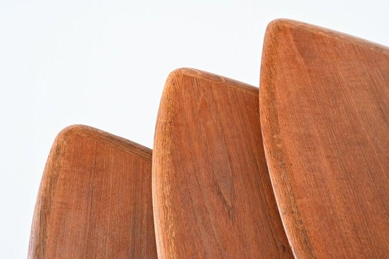 Poul Jensen Style Nesting Tables Teak Wood Denmark 1960 For Sale 6