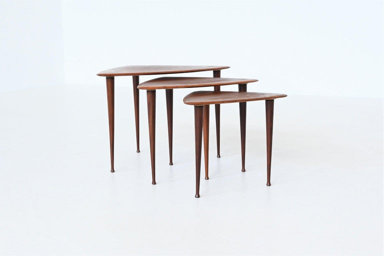 Mid-Century Modern Poul Jensen Style Nesting Tables Teak Wood Denmark 1960 For Sale