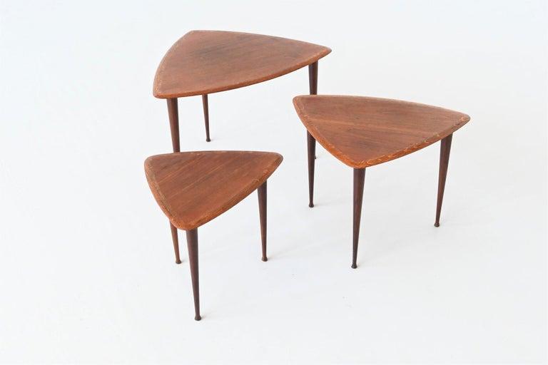 Danish Poul Jensen Style Nesting Tables Teak Wood Denmark 1960 For Sale