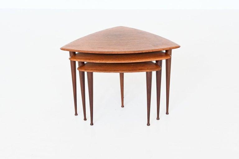 Poul Jensen Style Nesting Tables Teak Wood Denmark 1960 For Sale 1