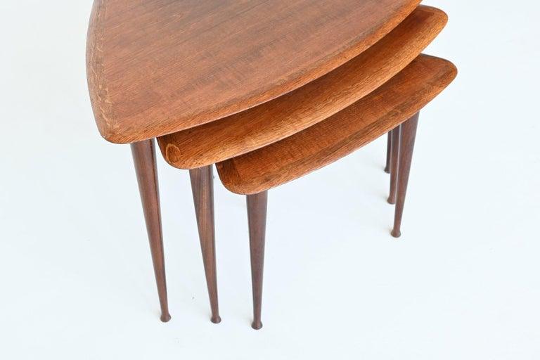Poul Jensen Style Nesting Tables Teak Wood Denmark 1960 For Sale 2