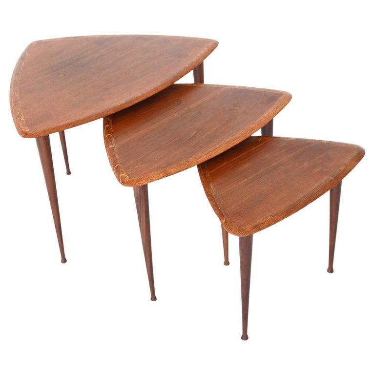 Poul Jensen Style Nesting Tables Teak Wood Denmark 1960 For Sale