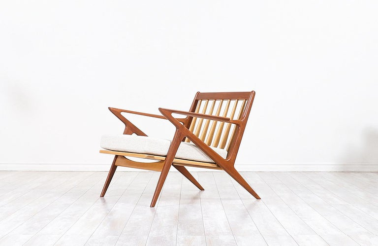 Fabric Poul Jensen Z Teak Lounge Chairs for Selig For Sale
