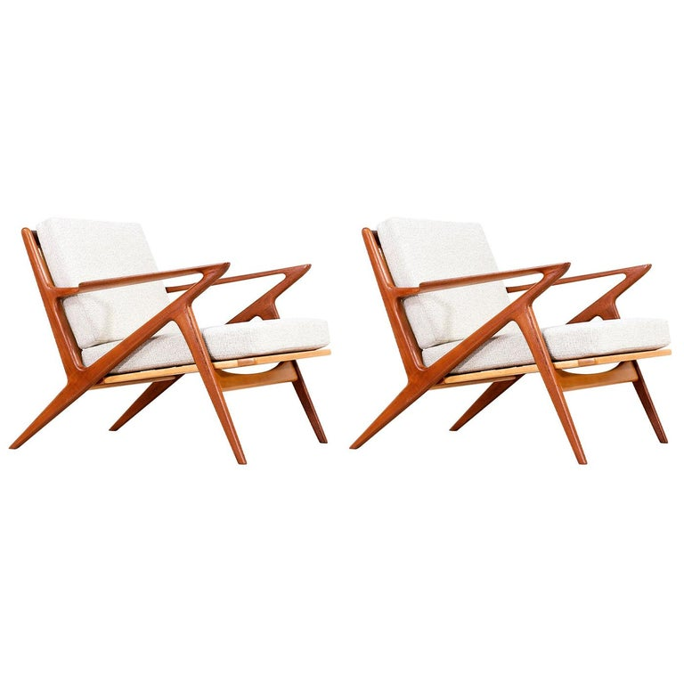 Poul Jensen Z Teak Lounge Chairs for Selig For Sale
