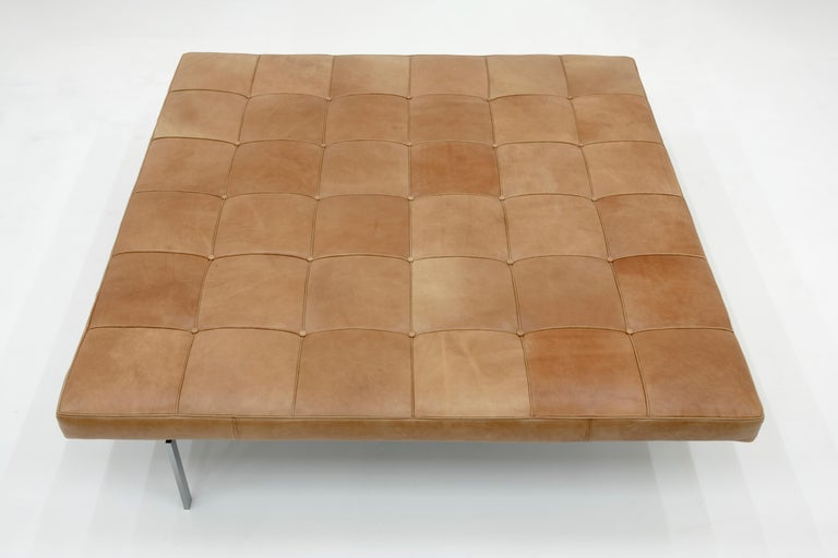Extremely rare daybed PK80A , E. Kold Christensen edition, Denmark, 1959  brushed steel frame, structure of green / gray lacquered wood cognac leather matras  Provenance:  1st owner private collection, Kopenhagen 2nd owner private collection