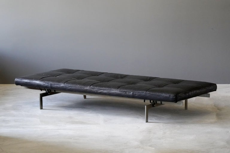 Mid-Century Modern Poul Kjaerholm, Early Daybed, Orginal Leather, Steel, Plywood E Kold Christensen For Sale